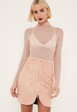 Mini-jupe zippée en suédine rose