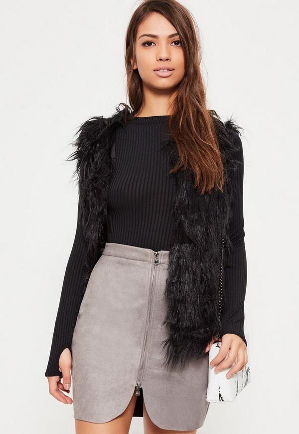 Grey Faux Suede Zip Through Curve Detail Mini Skirt