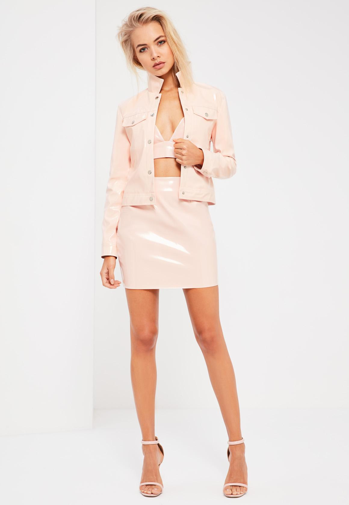Galore Pink Patent Faux Leather Mini Skirt - Missguided