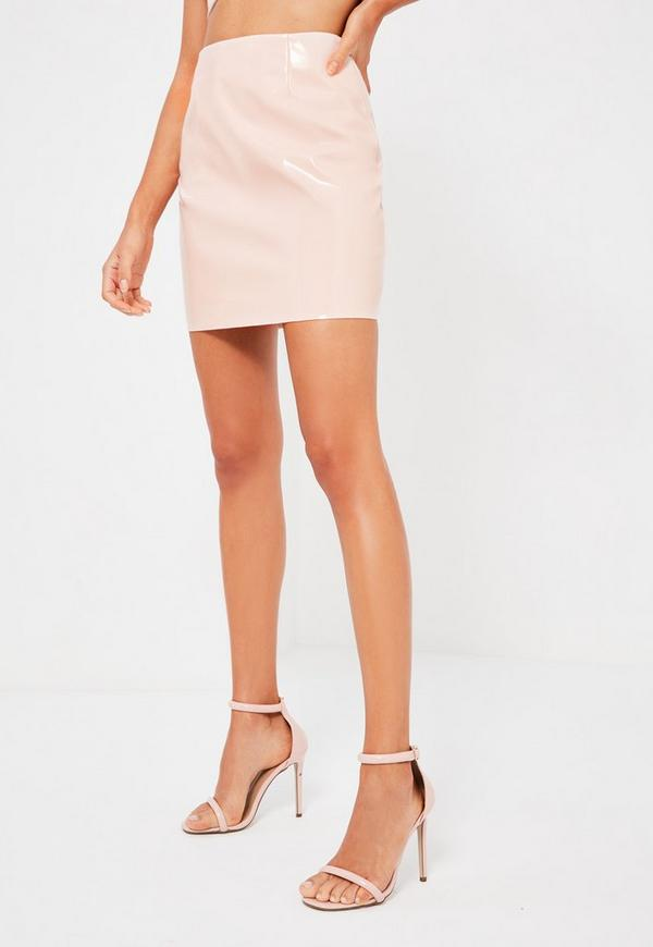 Galore Pink Patent Faux Leather Mini Skirt | Missguided