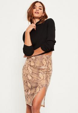 Brown Split Side Snake Print Sequin Midi Skirt