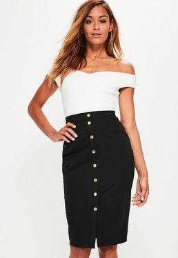 Black Popper Through Ponte Midi Skirt