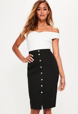 Black Popper Through Ponte Midi Skirt