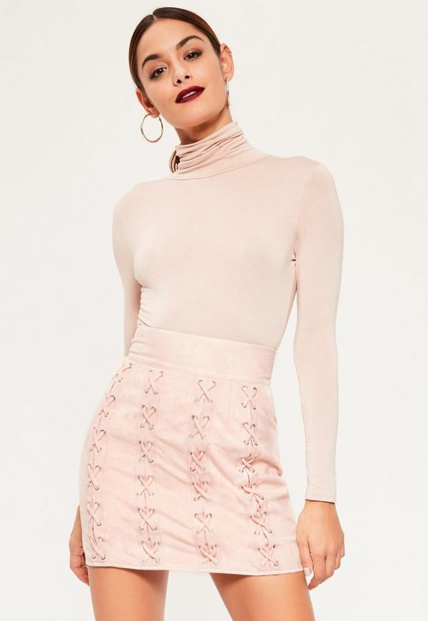 Pink Faux Suede Multi Eyelet Lace Up Mini Skirt