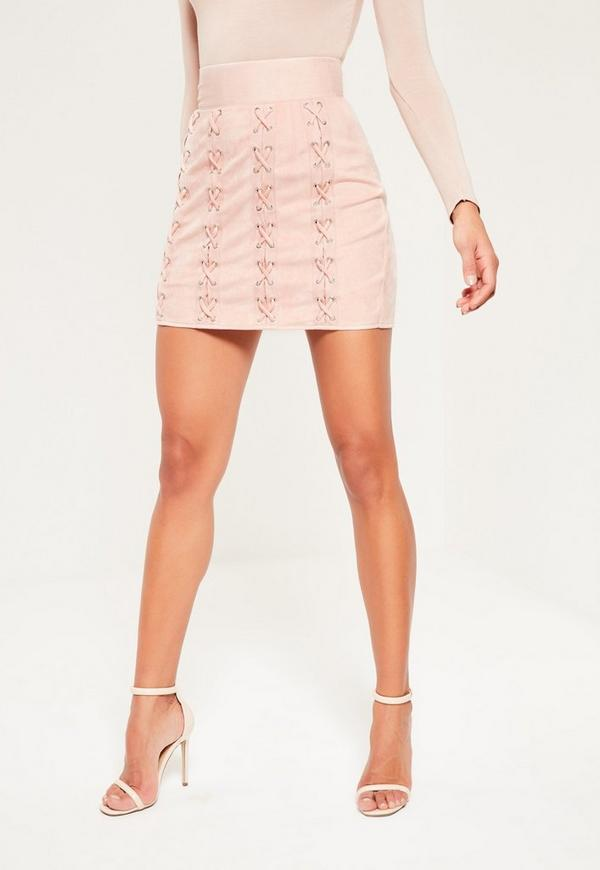 Pink Faux Suede Multi Eyelet Lace Up Mini Skirt | Missguided