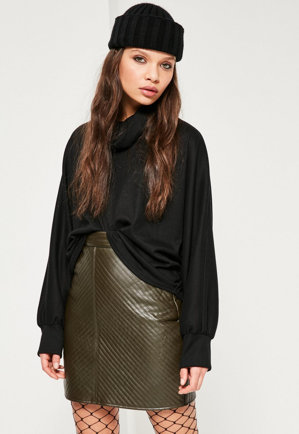 Khaki Faux Leather Quilted Mini Skirt | Missguided