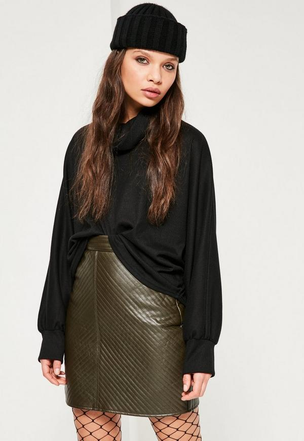 Khaki Faux Leather Quilted Mini Skirt