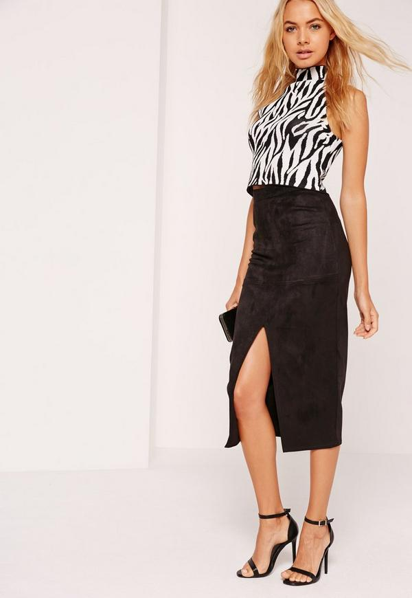 Split Front Longline Faux Suede Midi Skirt Black