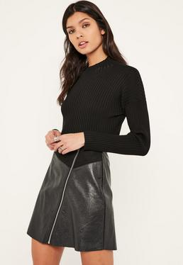 Faux Suede And Leather Zip Through A Line Skirt