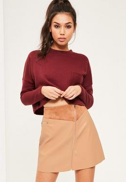 Tan Faux Leather Zip Detail A-Line Skirt