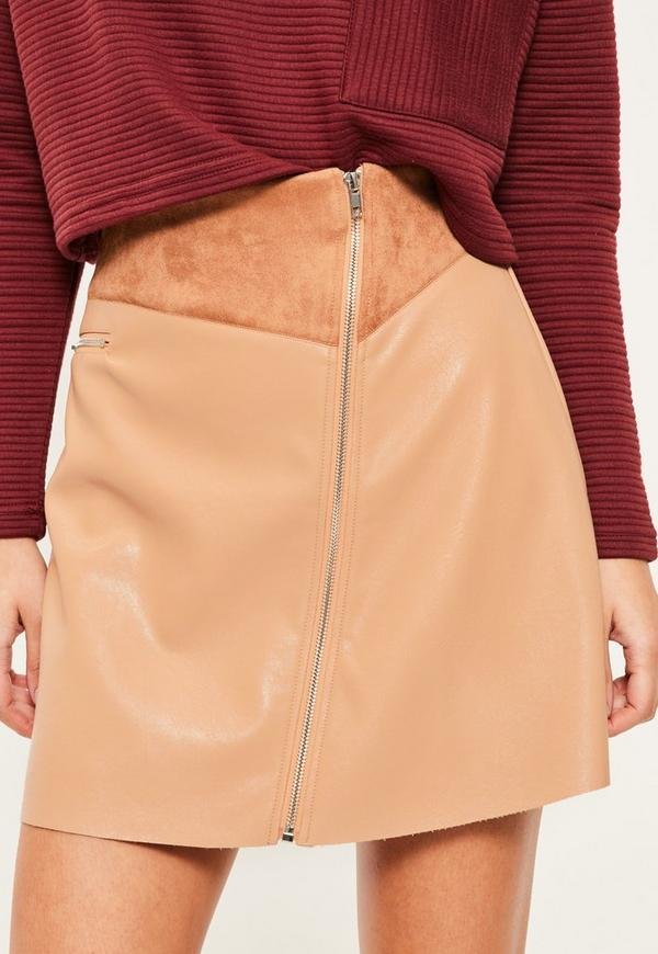 Tan faux leather zip detail a line skirt missguided for Faux leather what does it mean