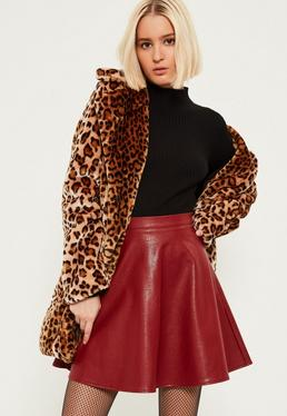 Burgundy Faux Leather Full Mini Skirt