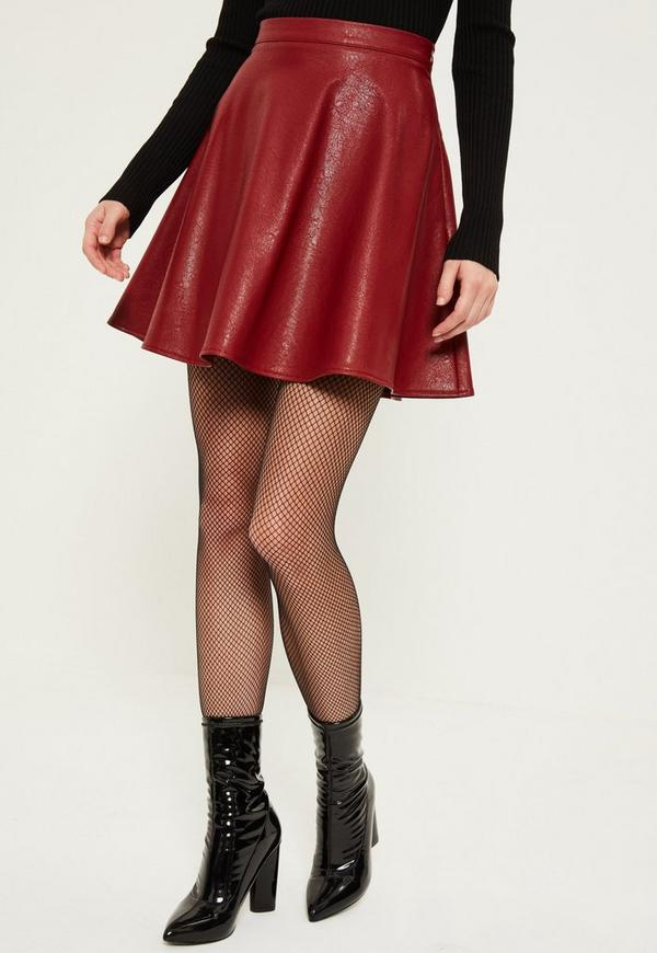 burgundy faux leather mini skirt missguided