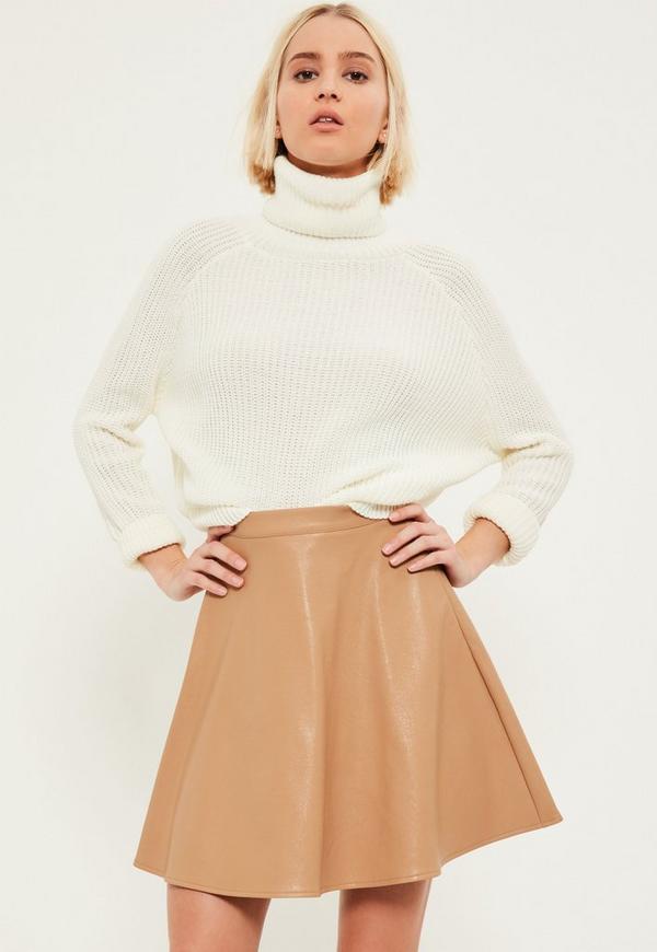 Nude Faux Leather Full Mini Skirt