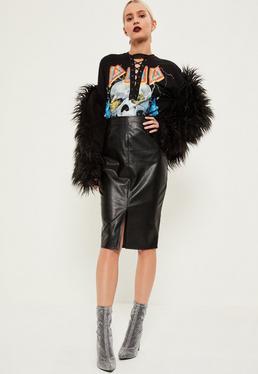 Black Split Front Longline Faux Leather Midi Skirt