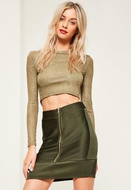 Khaki Ripple Texture Zip Through Mini Skirt