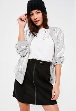 Black Tab Detail Zip Through Bonded Faux Suede Mini Skirt