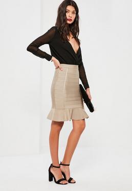 Nude Premium Bandage Frill Hem Mini Skirt