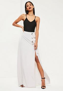 Grey Eyelet Detail Maxi Skirt