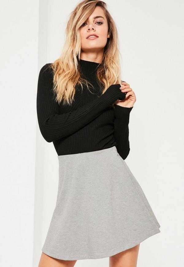 grey jersey a line skirt missguided