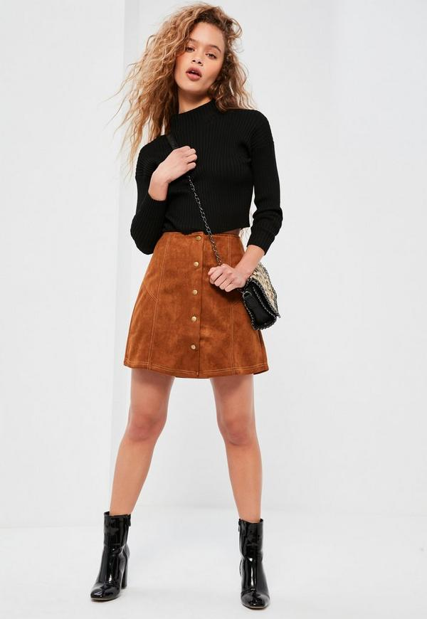 Brown Faux Suede A Line Button Through Mini Skirt Missguided