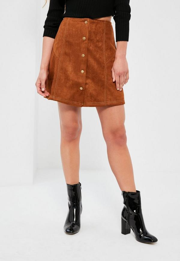 Brown Faux Suede A Line Button Through Mini Skirt - Missguided