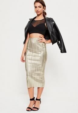 Gold Foil Pleated Midi Skirt
