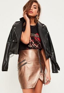 Gold Faux Leather Asymmetric Zip Detail Skirt