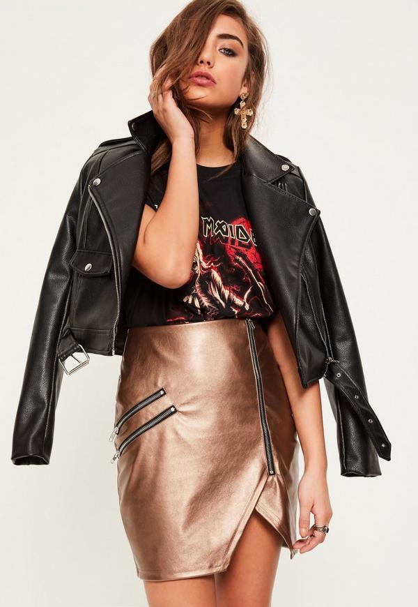 Gold Faux Leather Asymmetric Zip Detail Skirt