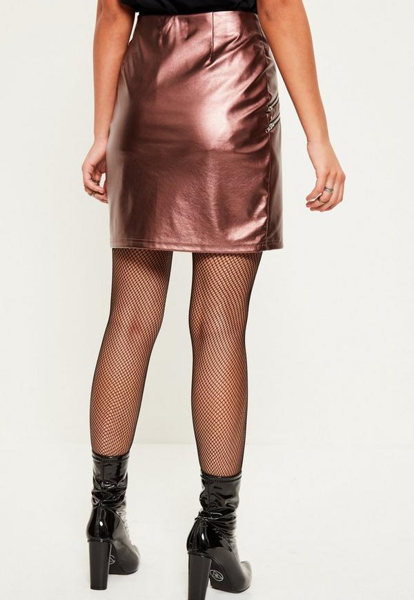 pink metallic asymmetric zip detail faux leather skirt