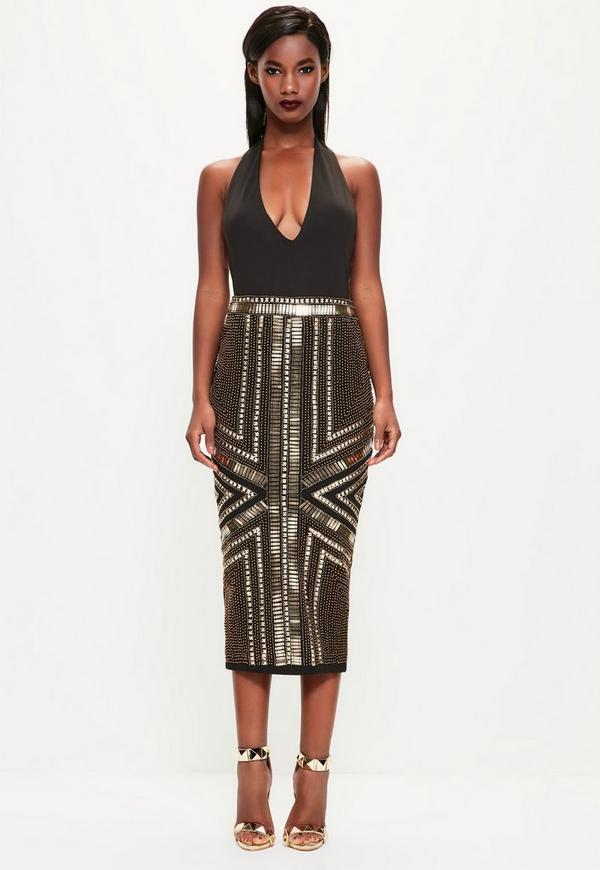 Peace + Love Black Heavily Embellished Midi Skirt