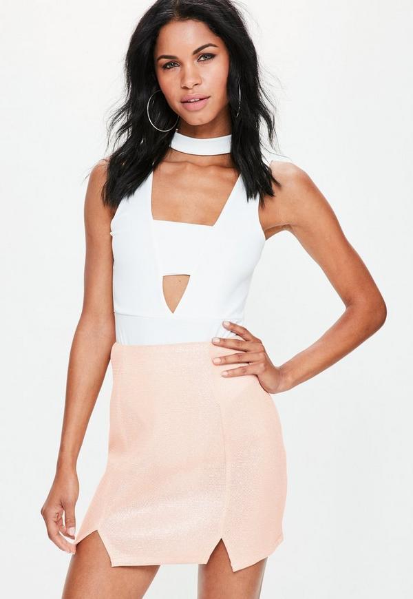 Pink Mesh A Line Double Split Mini Skirt