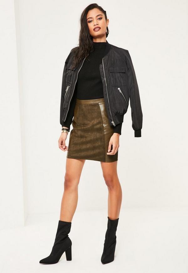 Khaki Faux Leather and Suede A Line Mini Skirt