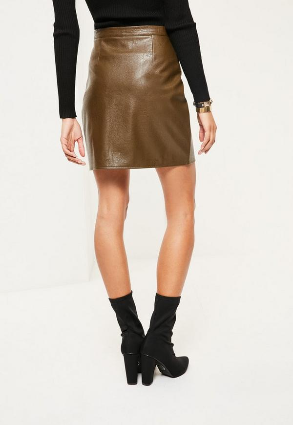 khaki faux leather and suede a line mini skirt missguided
