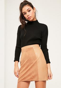 Mini-jupe évasée nude simili cuir et suédine