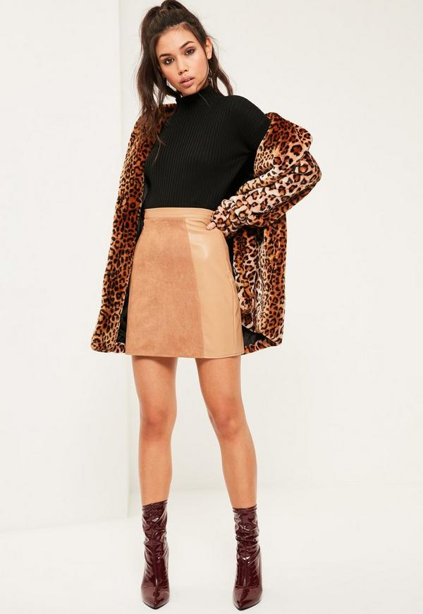 Nude Faux Leather and Suede A Line Mini Skirt | Missguided