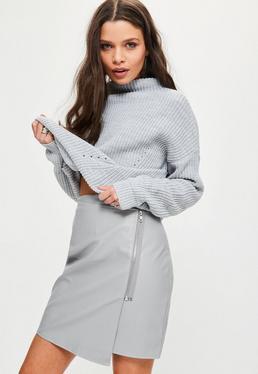 Grey Zip Front Asymmetric Panel Mini Skirt