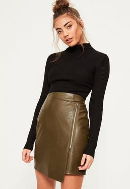 Khaki Zip Front Asymmetric Panel Mini Skirt
