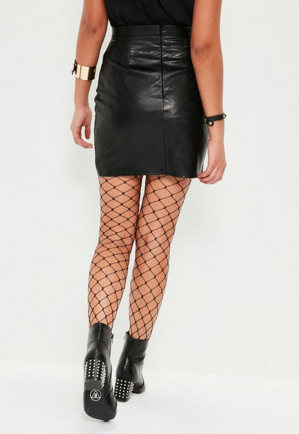 black faux leather gold stud front mini skirt missguided