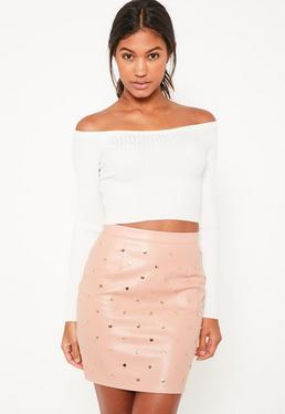 Nude Faux Leather Gold Studded Mini Skirt