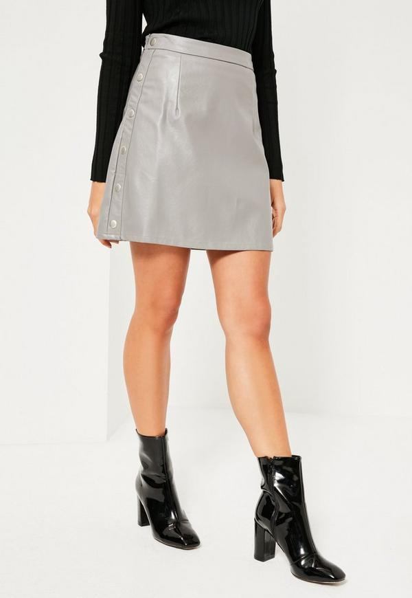 Grey Popper Side A Line Faux Leather Mini Skirt | Missguided