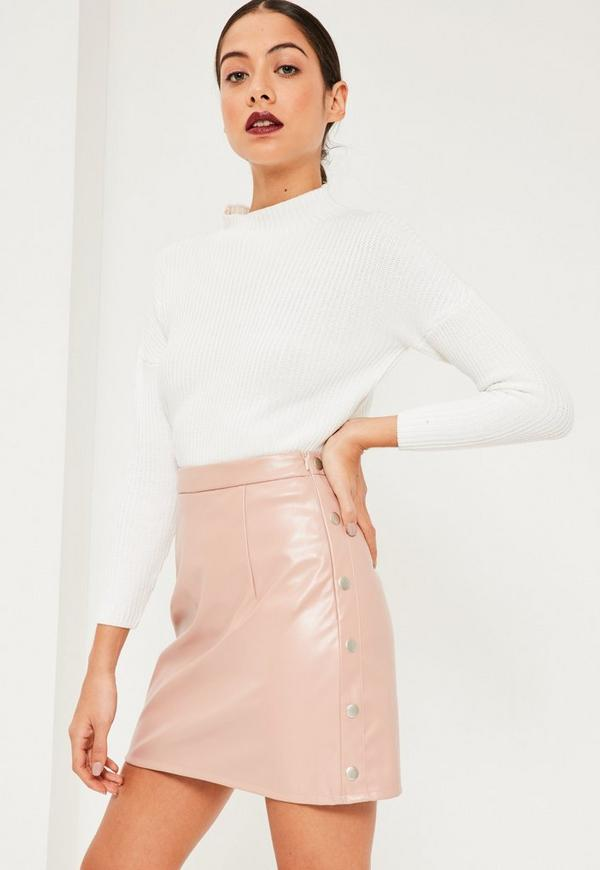 pink popper side a line faux leather mini skirt missguided