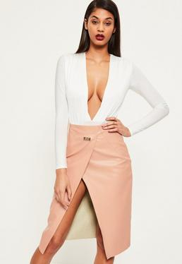 Pink Wrap Over Buckle Detail Faux Leather Midi Skirt
