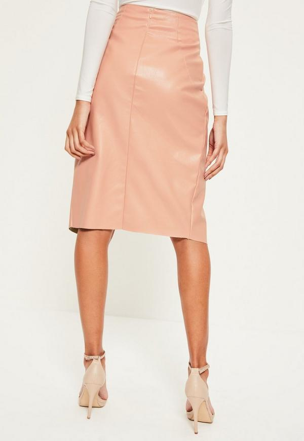 pink wrap buckle detail faux leather midi skirt