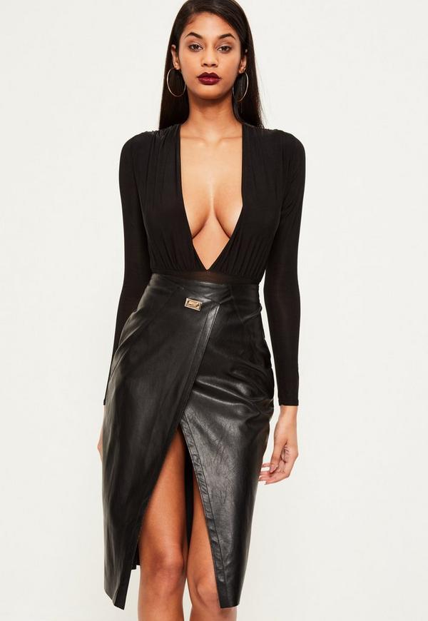 black wrap buckle detail faux leather midi skirt