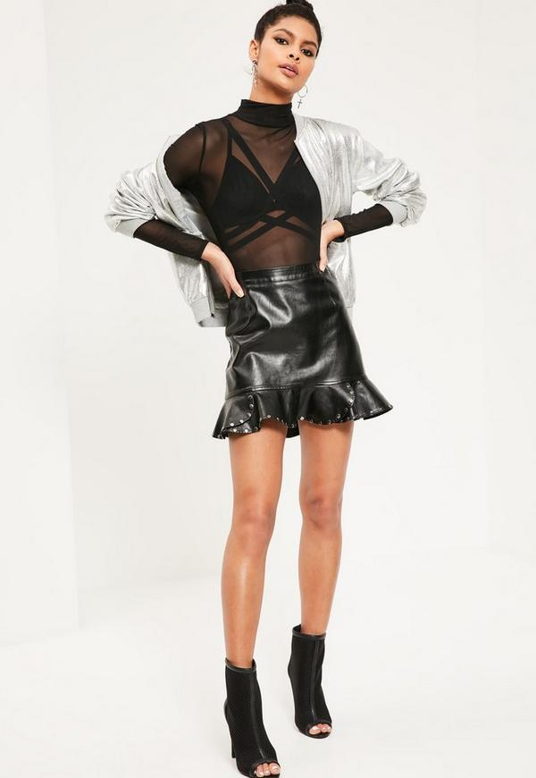Black Faux Leather Frill Hem Stud Mini Skirt | Missguided