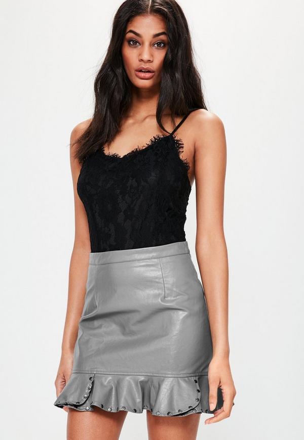 Grey Faux Leather Frill Hem Stud Mini Skirt