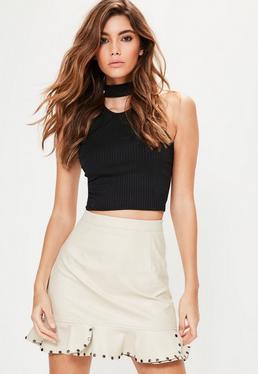 Cream Faux Leather Stud Frill Hem Mini Skirt