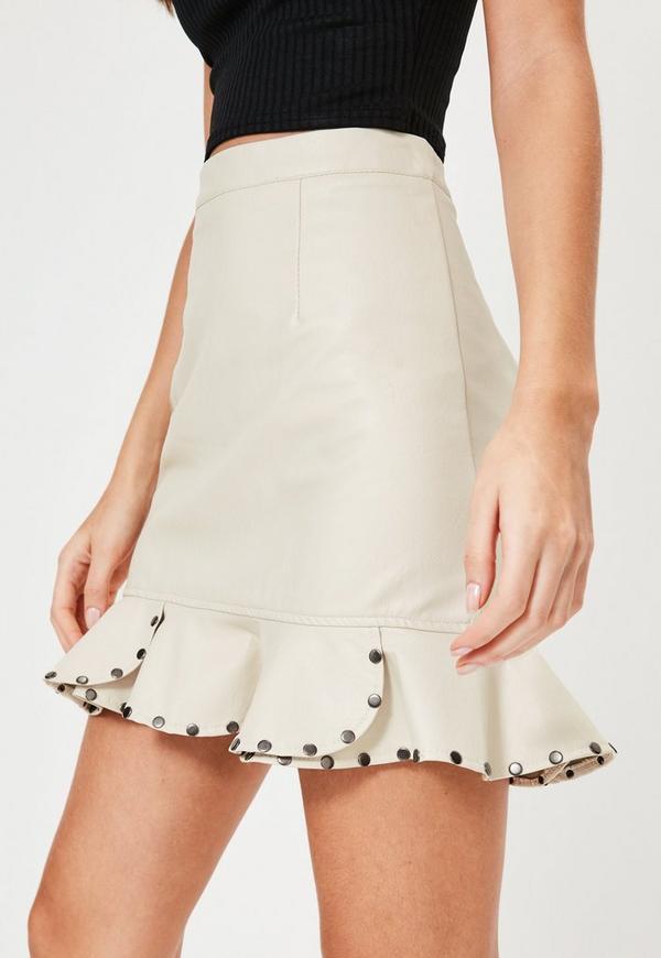 Cream Faux Leather Stud Frill Hem Mini Skirt | Missguided
