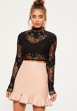 Pink Faux Leather Stud Frill Hem Mini Skirt